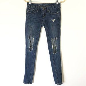 Mossimo Dark Wash Ripped Distressed Skinny Jeans